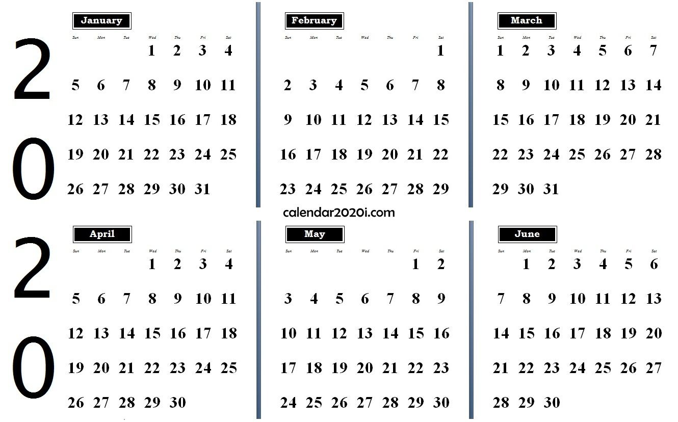 2020 6 Months Calendar from January to June Monthly calendar 1330x828