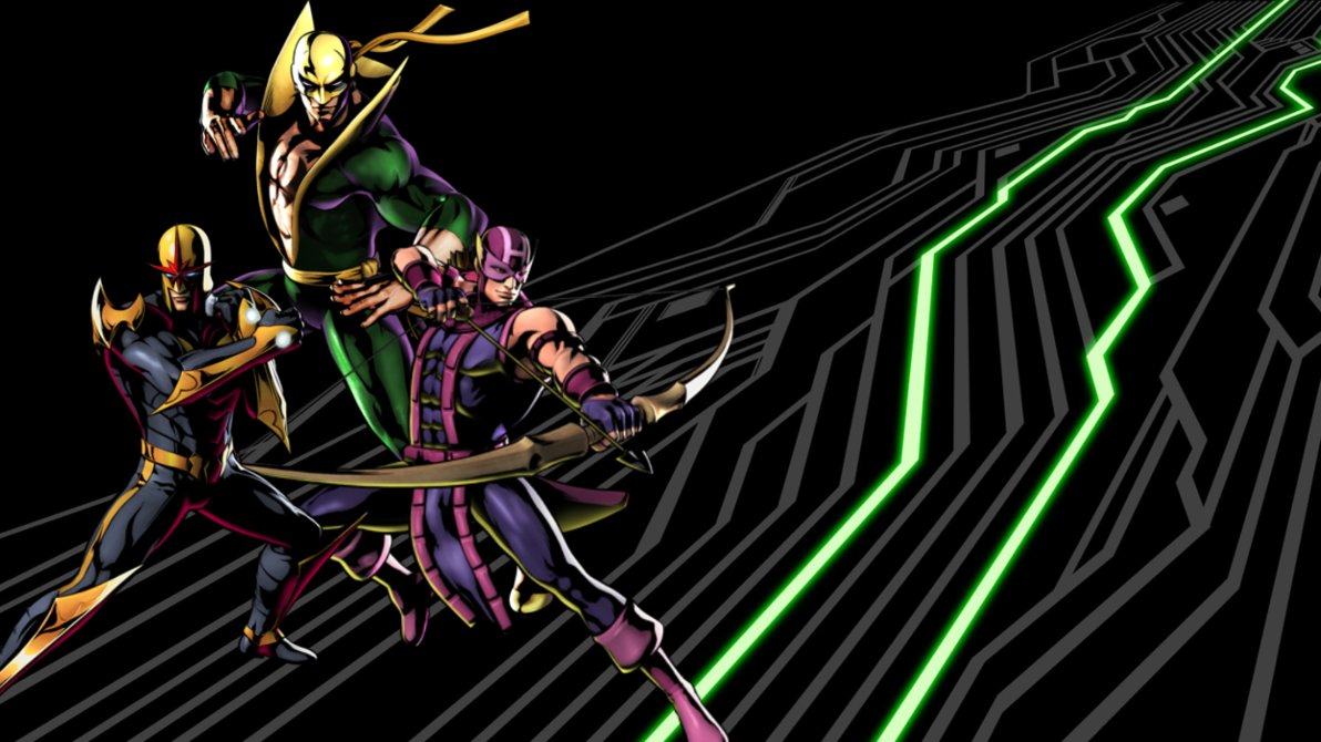 UMVC3 Team Wallpapers Hawkeye Nova and Iron Fist by bxb minamimoto 1192x670