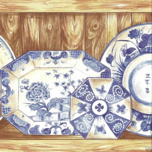 Blue Oriental Dishes Wallpaper Border   Kitchen Bathroom Wallpaper 500x500