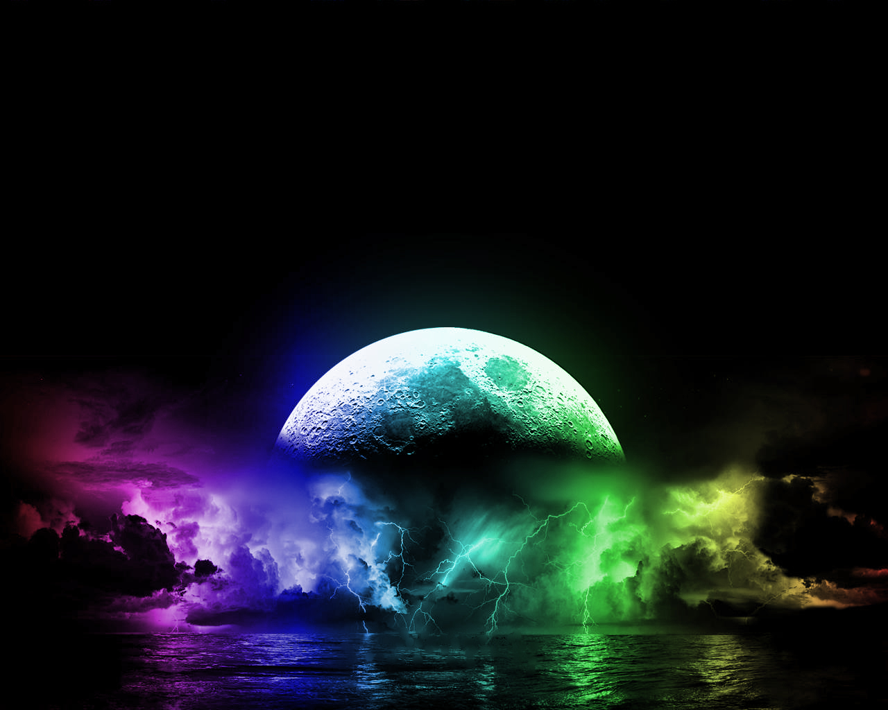 download wallpaper A really cool and colorful moon and lightning 1280x1024