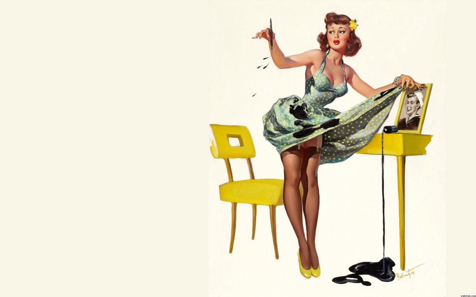 singing pin up girl wallpaper 1600x1000