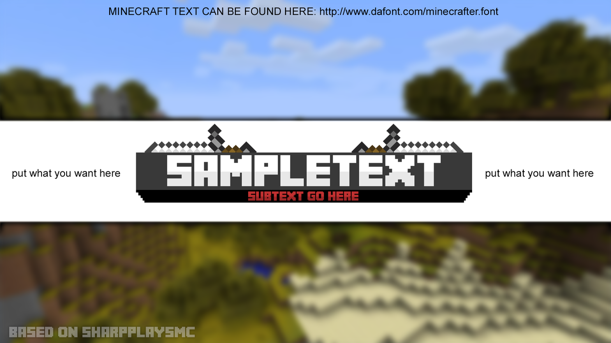 Minecraft Youtube Banner Template by hsMLG 1192x670