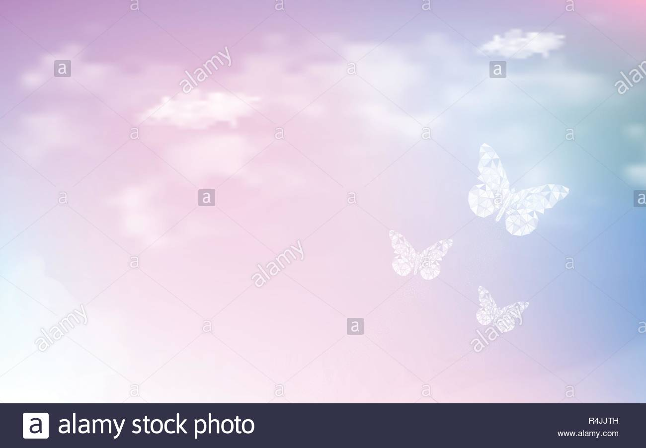 Fantasy dreaming sky with low poly butterflies in pastel color 1300x902