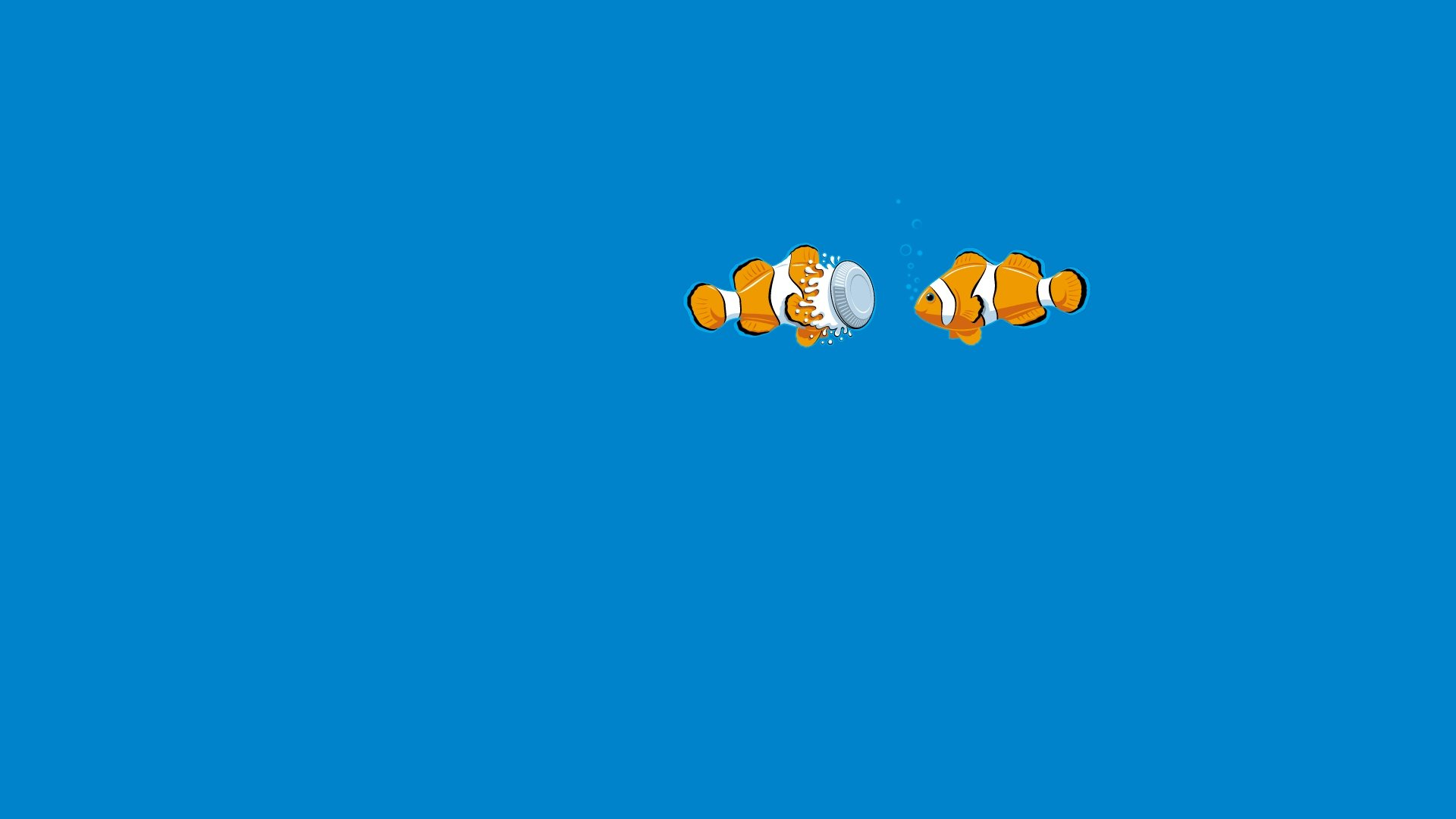 Blue Fish Underwater Clown Fish Pie humor funny ocean sea wallpaper 1920x1080