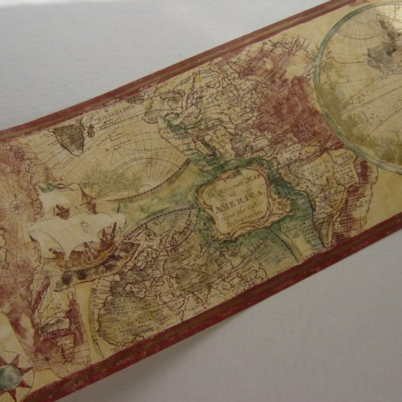 Old World Expedition Style Map Wallpaper Border by DandelionGirl 570x570