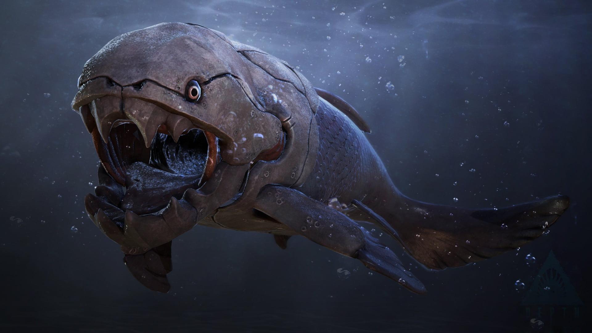 Gray and black fish digital wallpaper fantasy art creature 1920x1080