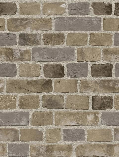Grey Faux Brick Wallpaper Brown and Grey Double Roll   Traditional 480x632