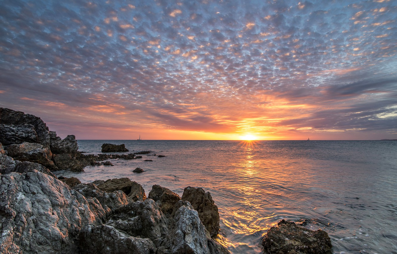 Wallpaper sea the sky sunset rocks France New Caledonia 1332x850