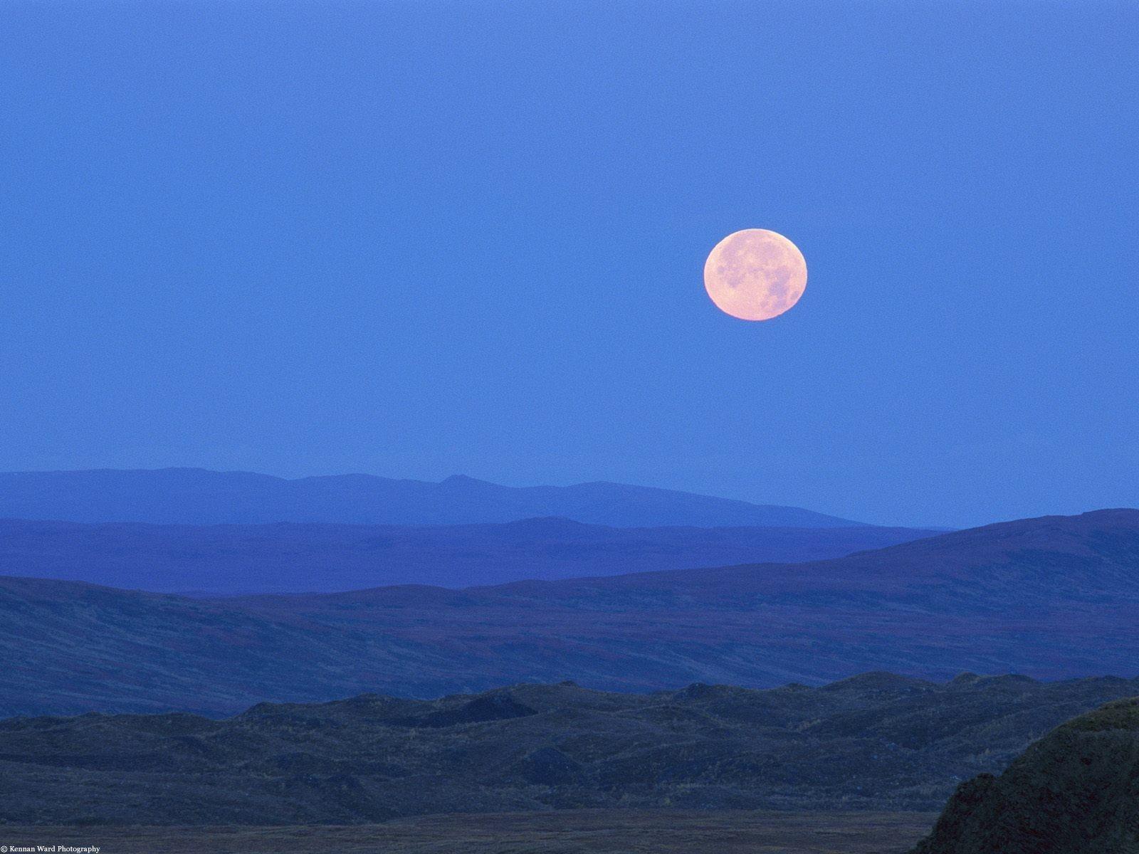 Alaska Full Moon night sky landscapes hills wallpaper background 1600x1200