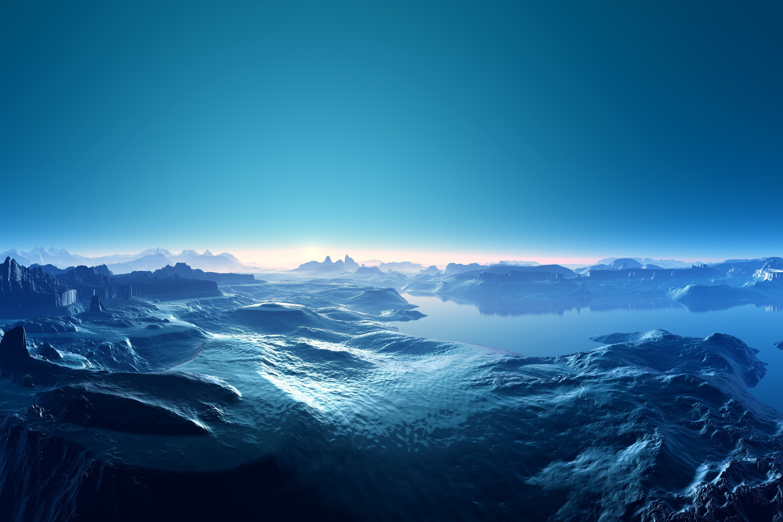 Moon Clouds Landscapes Mountains Ocean HD Wallpaper Desktop 6000x4000