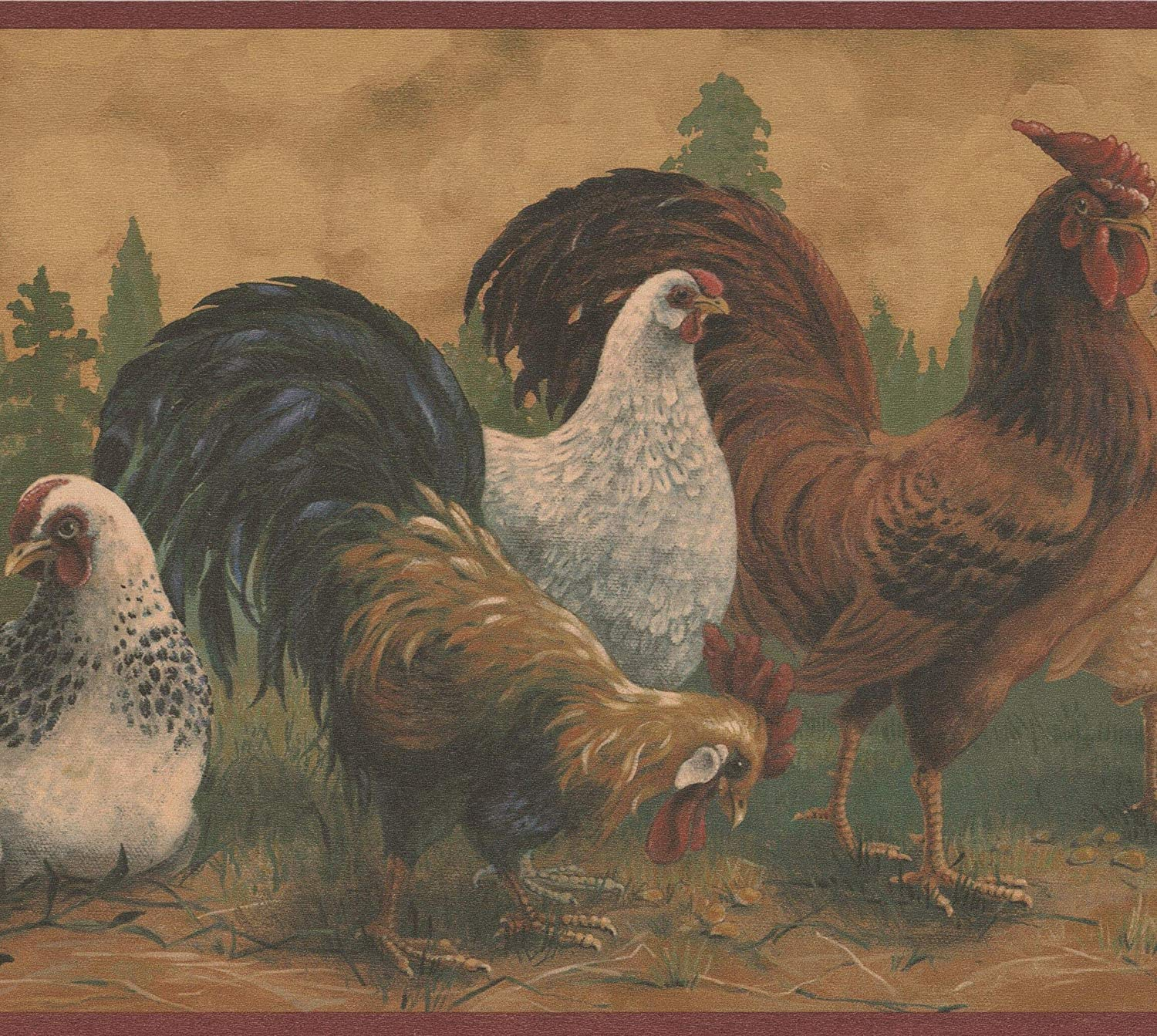 Brown Rooster White Hen Farmhouse Wallpaper Border Retro Design 1500x1343