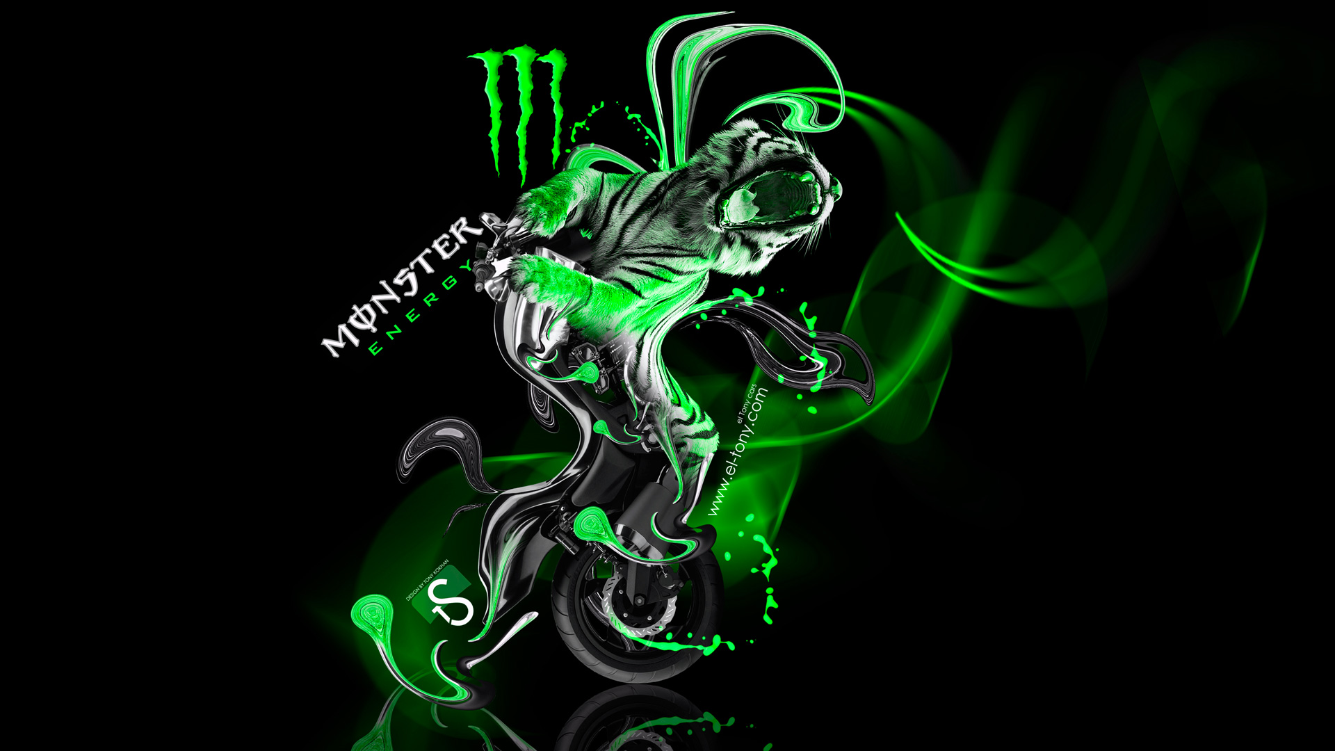 Monster Energy Moto Yamaha Vmax Fantasy Green Neon Plastic Tiger Bike 1920x1080