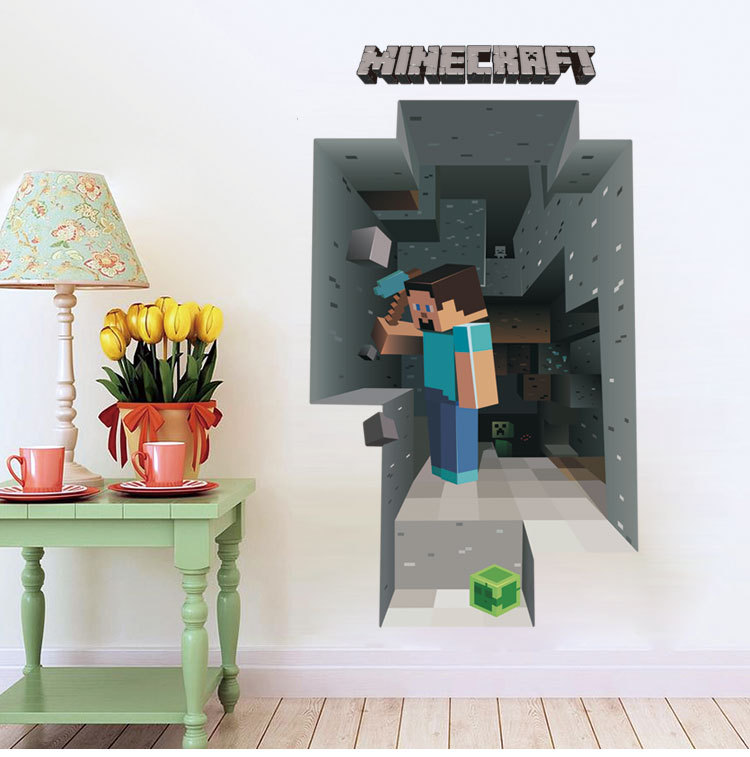 Buy minecraft steve Wall Sticker Home Decor for Kids Room Wallpaper 750x757