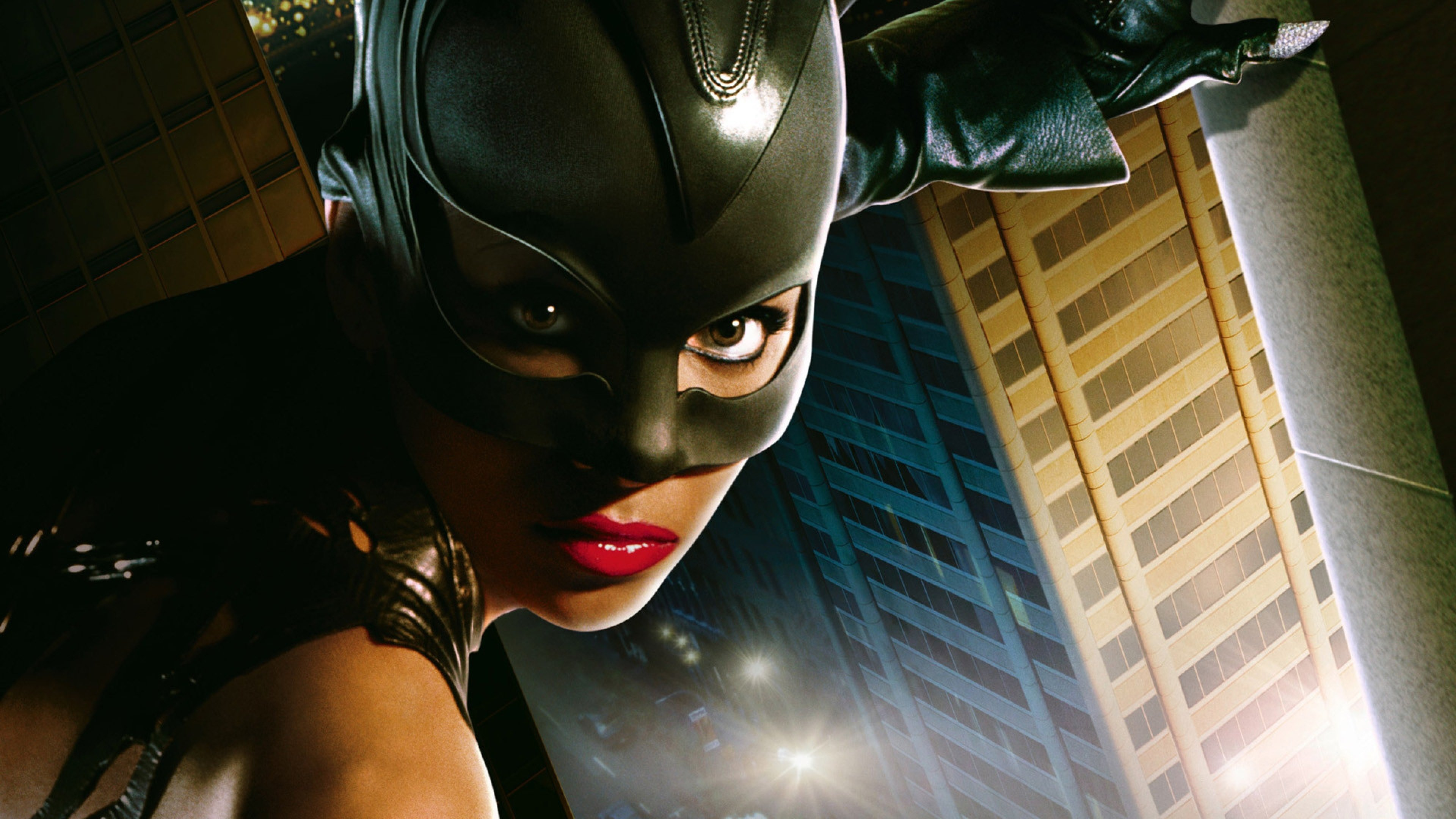 Wallpaper catwoman girl mask lips look face eyes halle berry 3840x2160