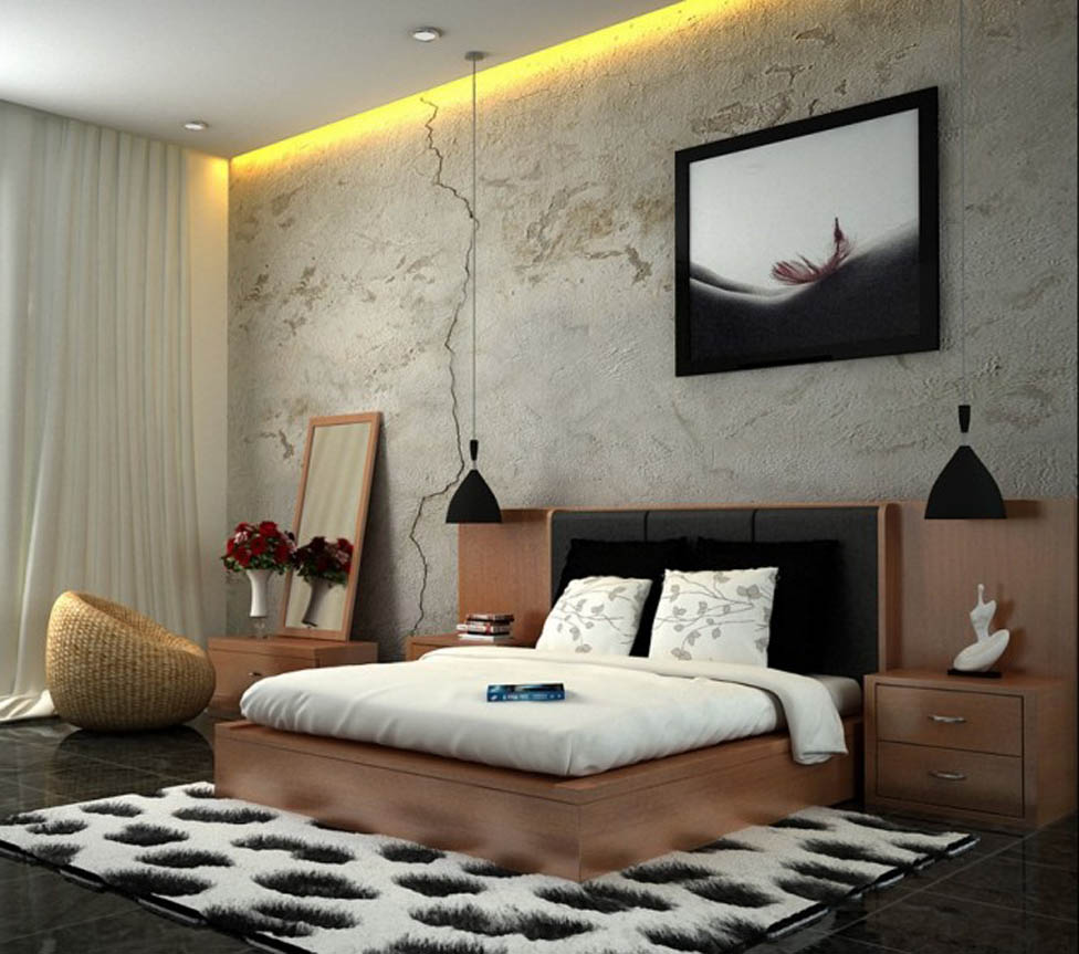 Design Idea Excellent Cozy White Brown Black Bedroom Wallpaper Scheme 976x863