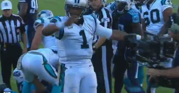 Carolina Panthers Cam Newton is known for celebrating his touchdowns 744x386