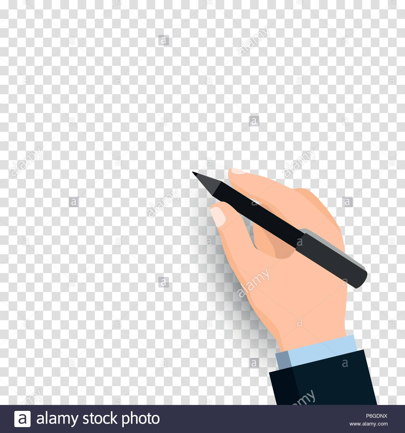 Hand holding pen and writing isolated on transparent background 1299x1390