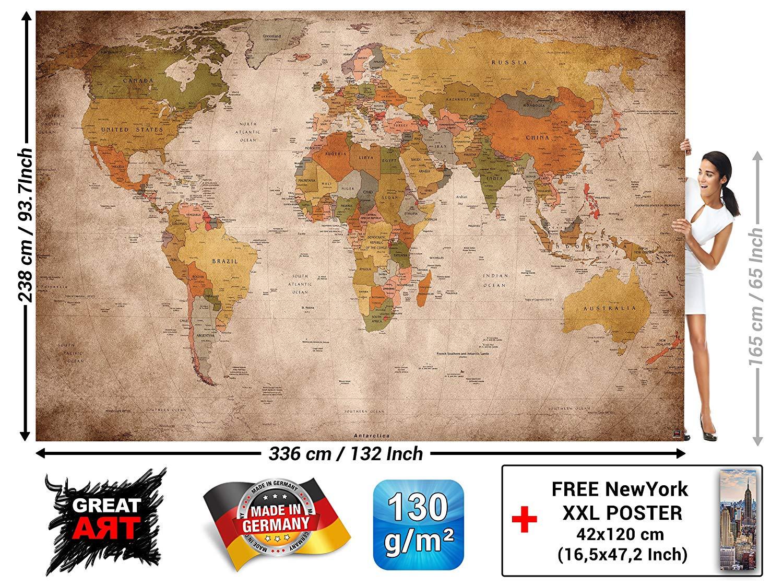 Amazoncom GREAT ART Wallpaper Retro World Map   Vintage Wall 1500x1120