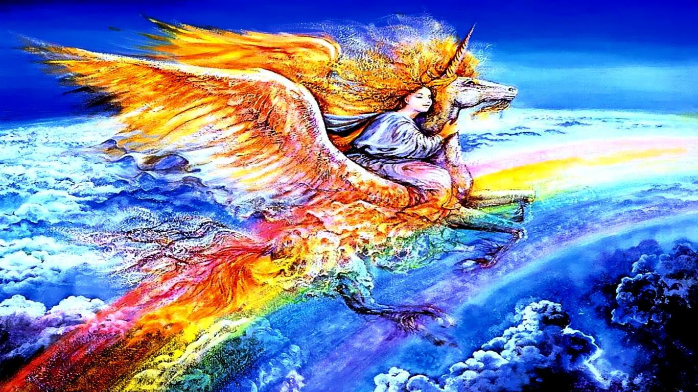 Colorful Fantasy Rainbow Sky Unicorn   1366x768 iWallHD   Wallpaper HD 1366x768