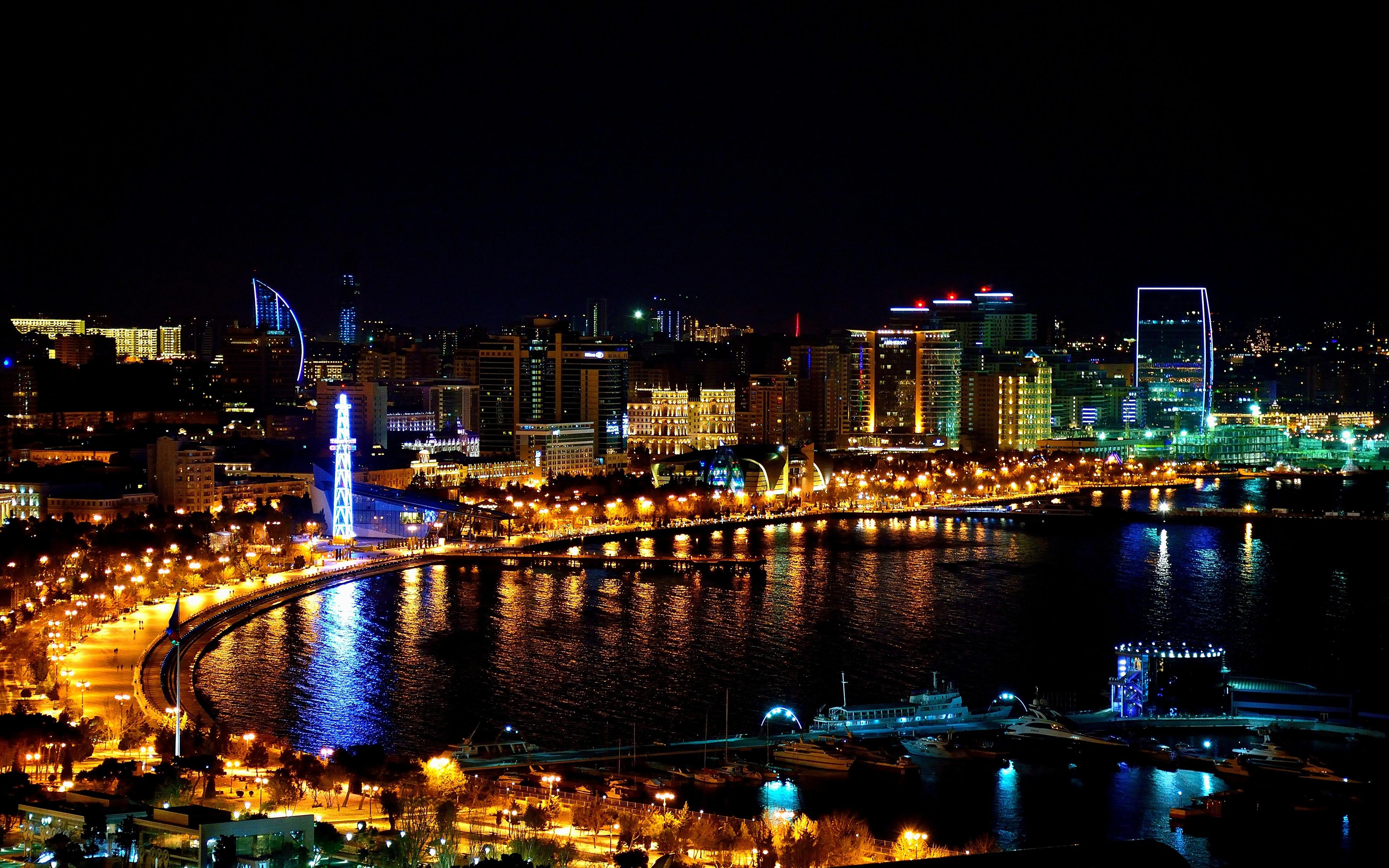 Wallpapers Baku Azerbaijan Night Coast Cities Building 3840x2400 3840x2400