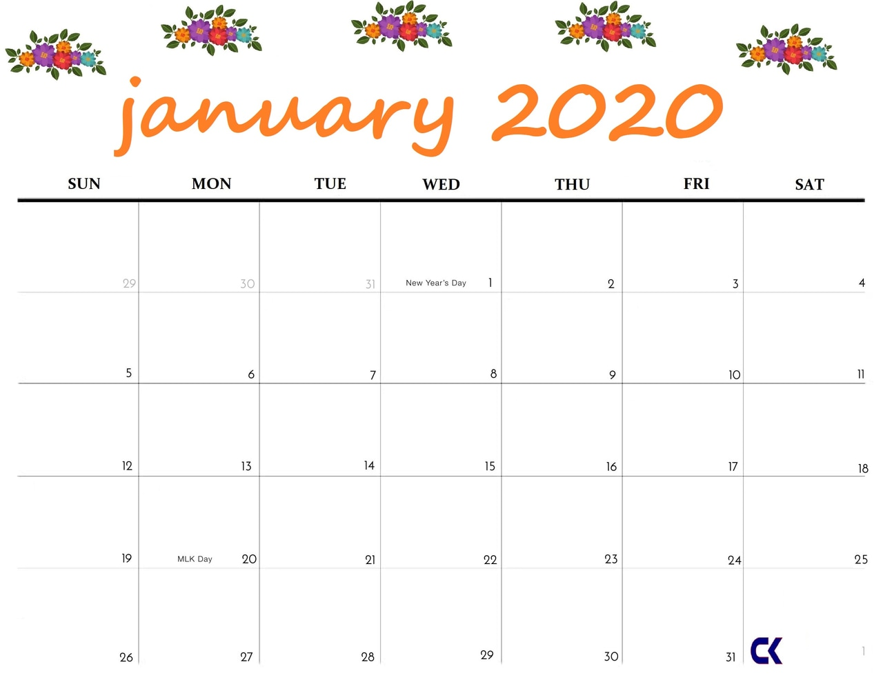 Best Cute January 2020 Calendar Floral Wallpaper For Desktop 1280x989