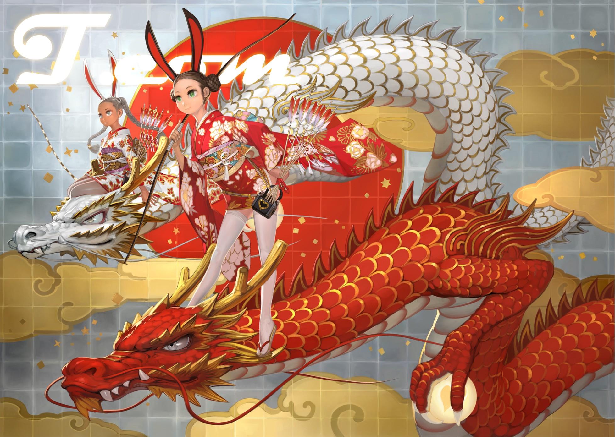 Red Japanese Dragon Wallpaper Dragons kimono wallpaper 1956x1391