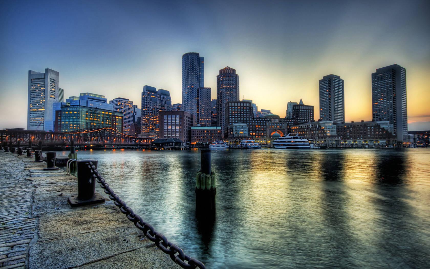 Boston city sunset wallpaper city wallpaper 1680x1050