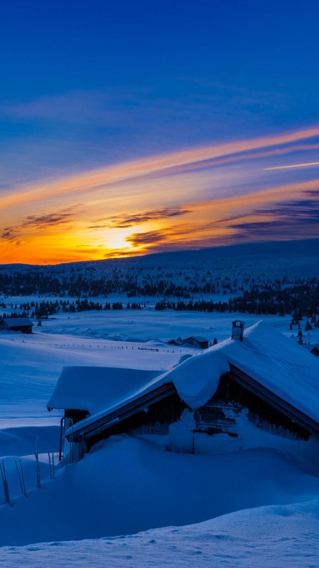 Beautiful Sunset Winter Chalet Snow iPhone 6 Plus HD Wallpaper iPod 1080x1920