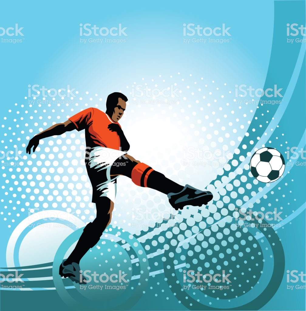 Soccer Player Strikes Perfect Volley On Blue Background Stock 1008x1024