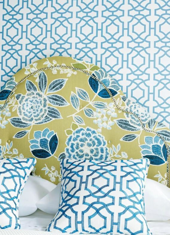 Alston Trellis Wallpaper in Blue in White Pillows in Alston Trellis 568x783