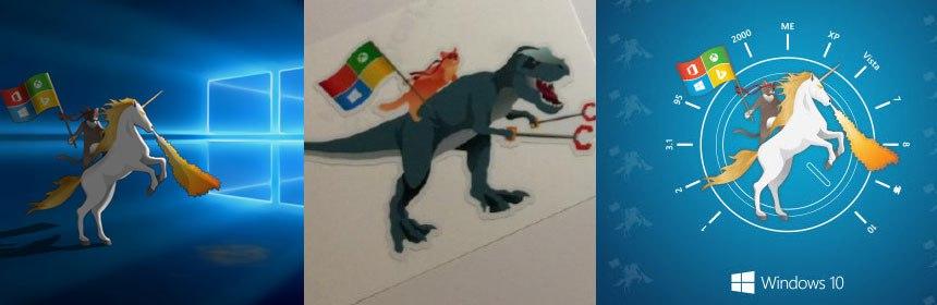 Windows 10 Hero Ninja Cat auf Unicorn Wallpaper WindowsBlogat 860x280