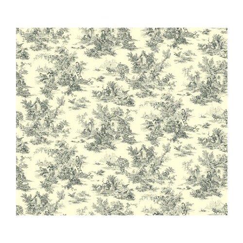 Toile de Jouy Prepasted Wallpaper CreamBlackWhite Home Improvement 500x500