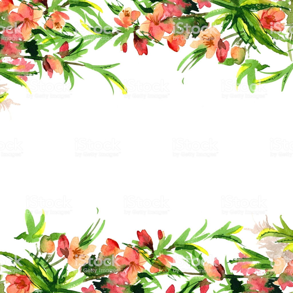 Cute Watercolor Flower Border Background With Watercolor Blossom 1024x1024