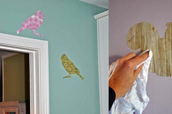 Make Your Own Wall Decals from Wallpaper Scraps   Copycat Crafts 600x400