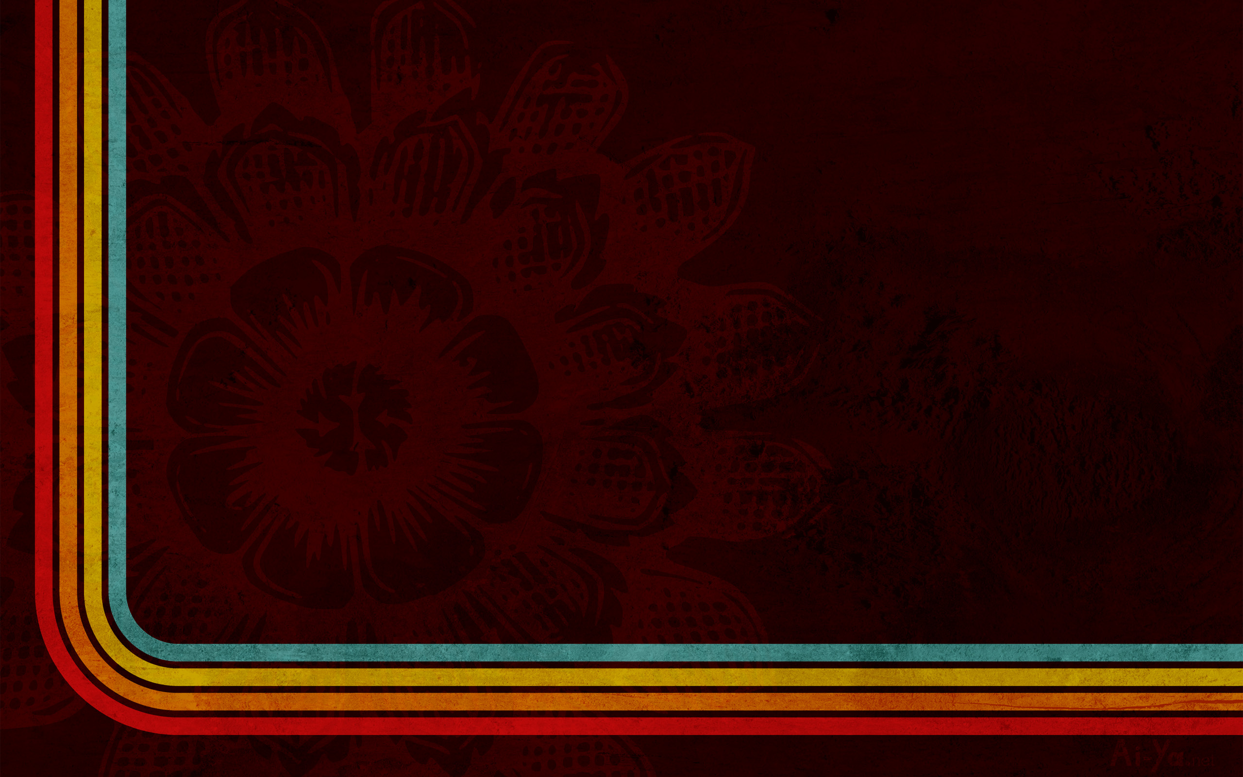 Eastern Flower Retro Stripes wallpapers Eastern Flower Retro 2560x1600