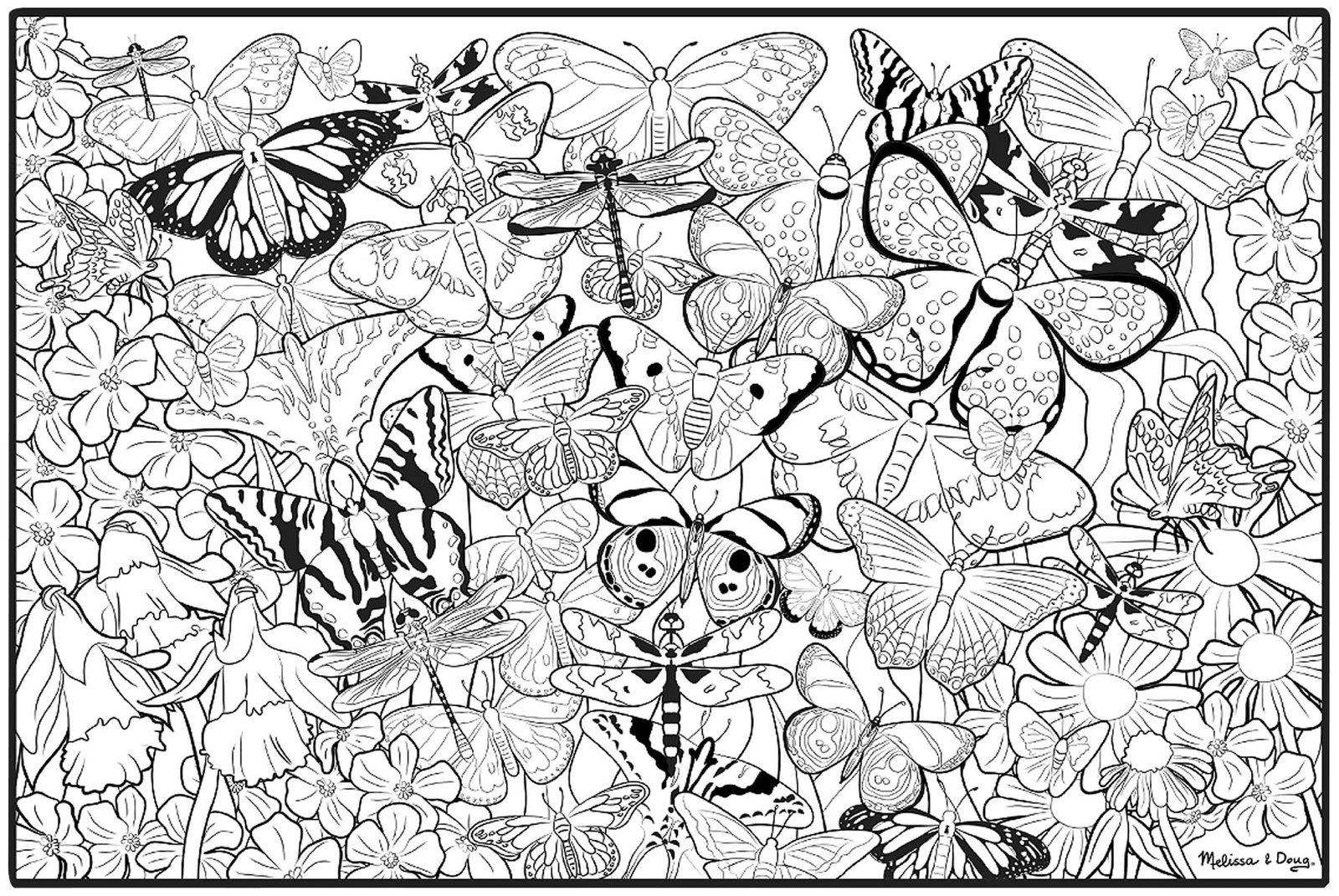 Melissa Doug Jumbo Color In Poster   Butterflies   Shipping 1600x1071