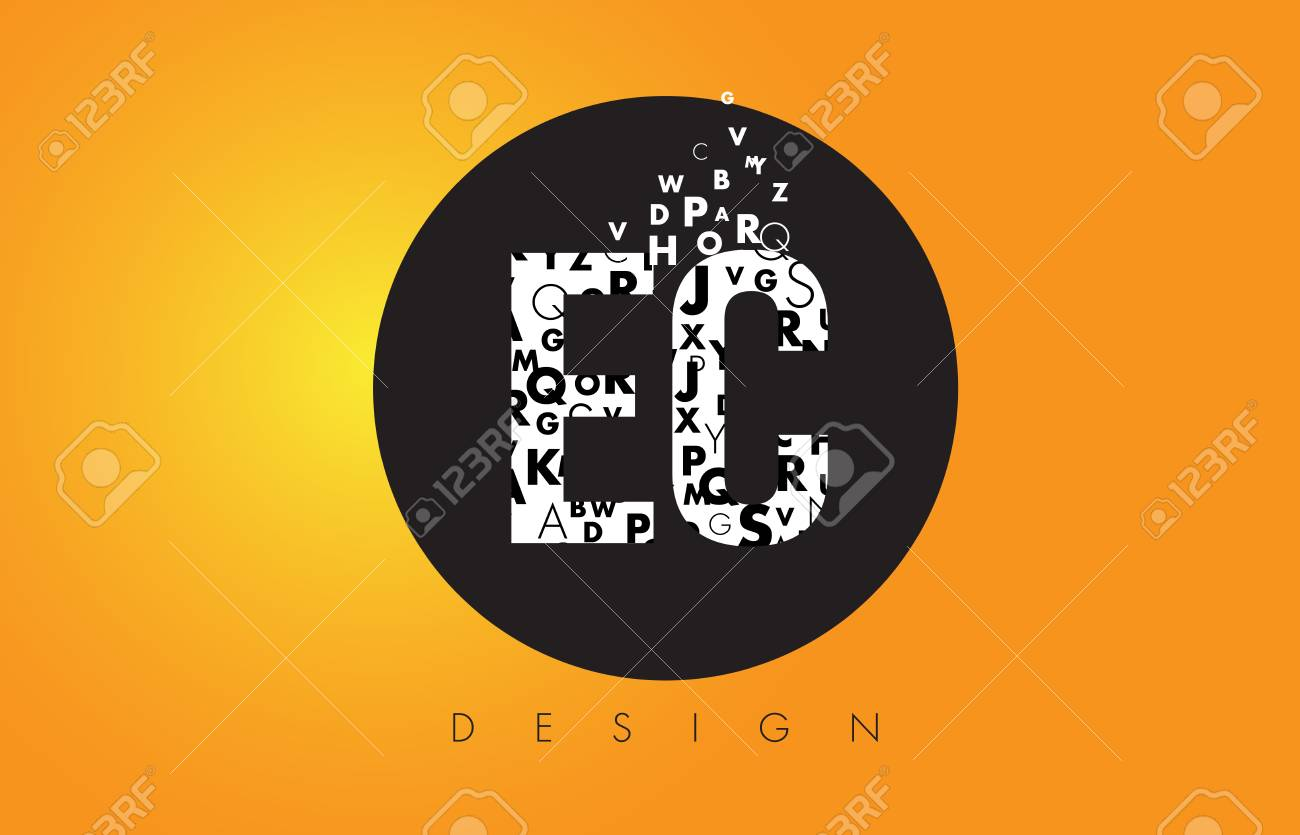 EC E C Logo Design Made Of Small Letters With Black Circle And 1300x835