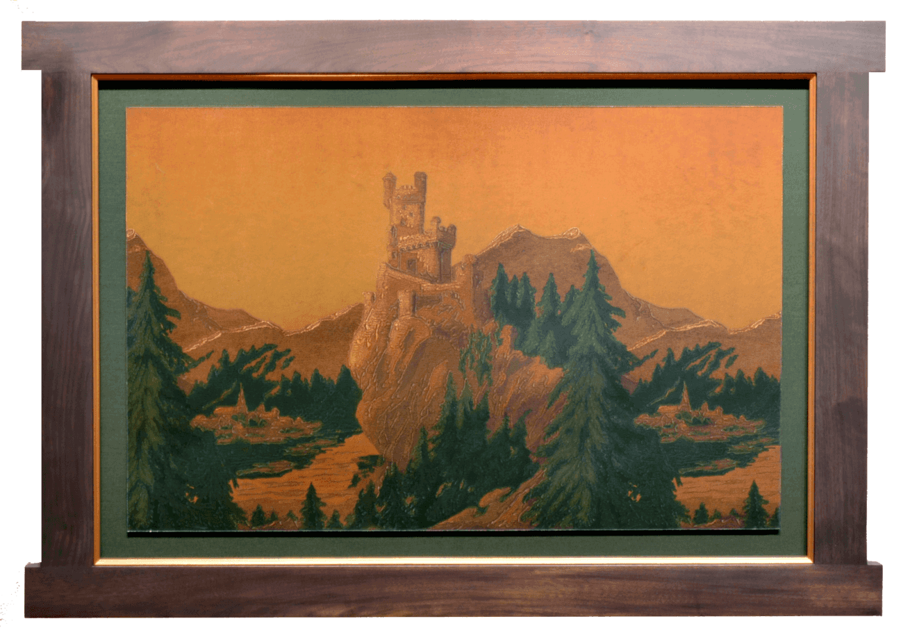 The Rhine Castles Frieze on GoldAntique WallpaperWall Art 1310x927