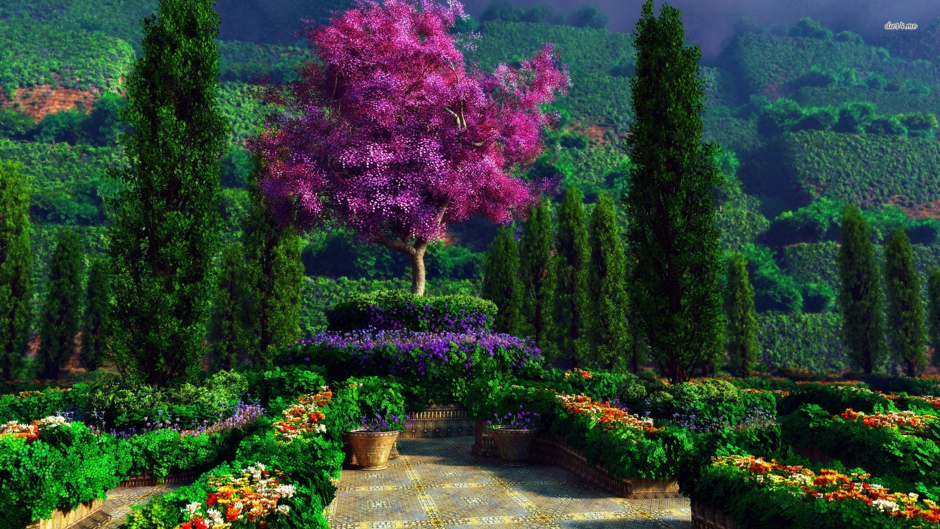 1920X1080 HD Garden Wallpaper