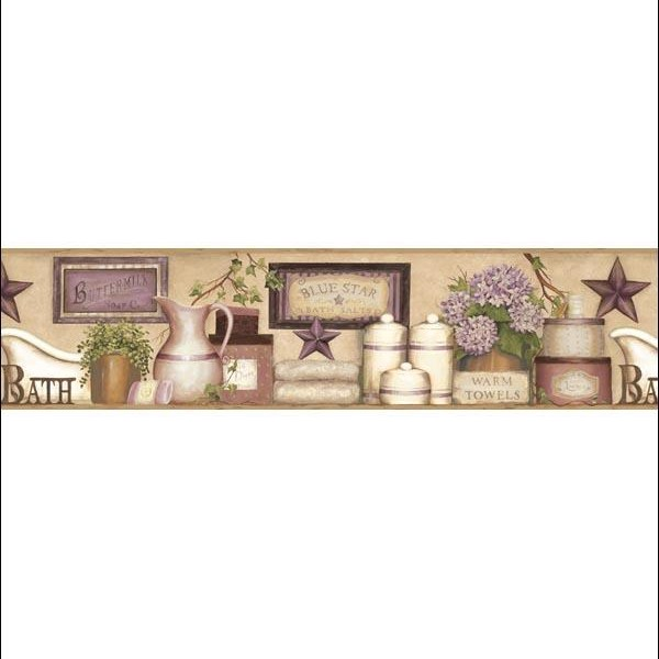 MARTHA VIOLET COUNTRY BATH BORDER Wallpaper Warehouse 600x600