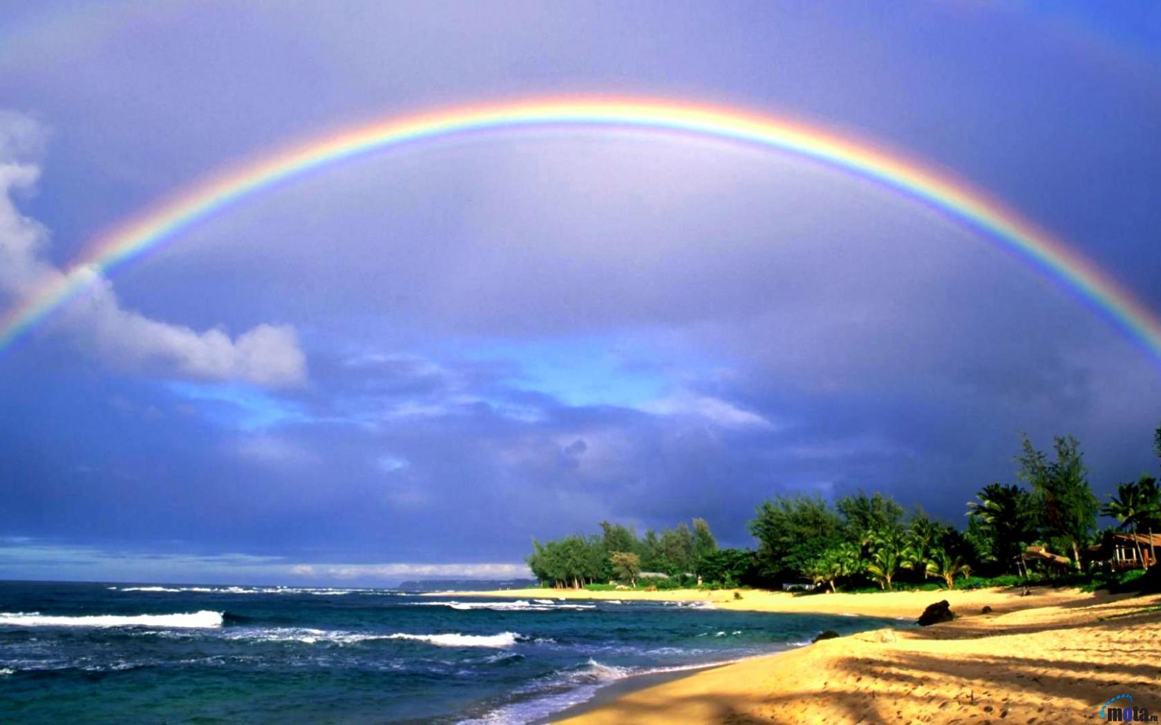Wallpaper Rainbow Over Kauai Hawaii 1680 x 1050 widescreen Desktop 1680x1050