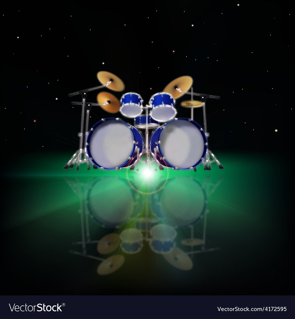 Abstract music background with drum kit and green Vector Image 1000x1080