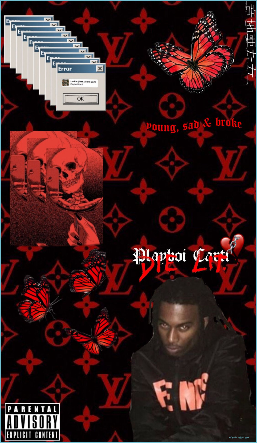 Playboi Carti x LV in 12 Rapper wallpaper iphone Red   red 1091x1878
