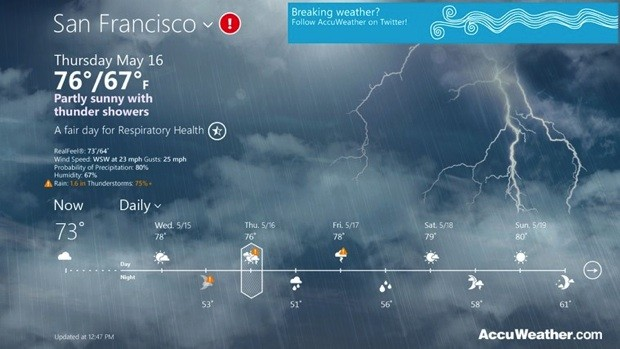 AccuWeather launches for Windows 8 lets you know if its dry outside 620x349