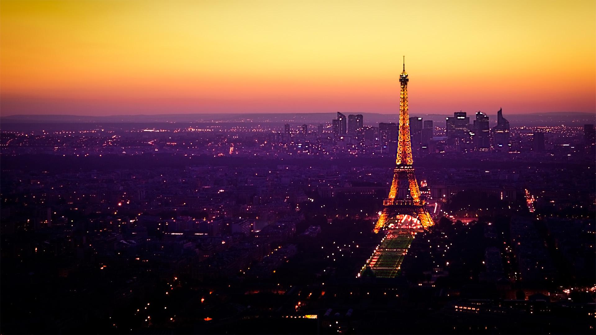 Night Fall In Paris Wallpaper 1920x1080