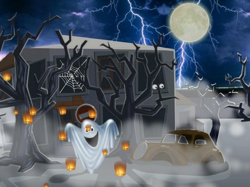 Review Downloads of Freeware Pumpkin Ghost House Clock Live Wallpaper 800x600
