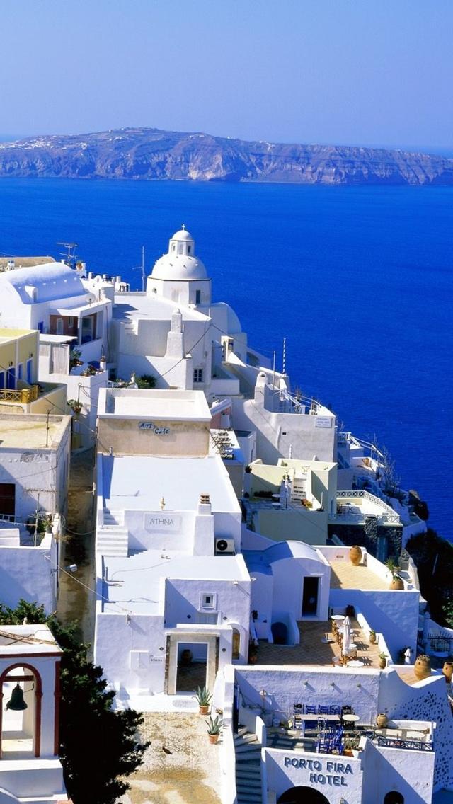 Santorini Wallpaper iPhon HD Wallpaper Background Images 640x1136