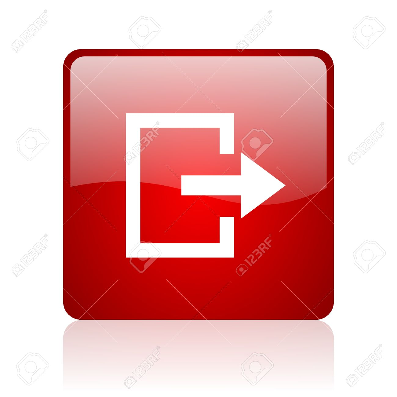 Exit Red Square Glossy Web Icon On White Background Stock Photo 1300x1300