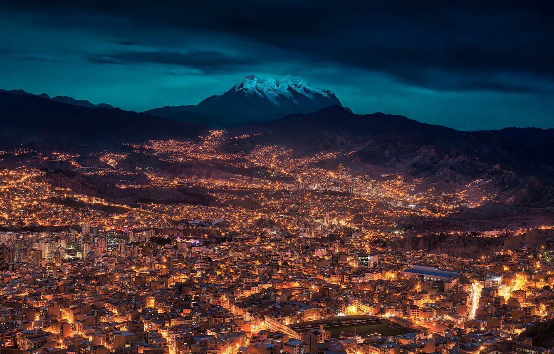 Wallpaper night the city Bolivia La Paz images for desktop 1332x850