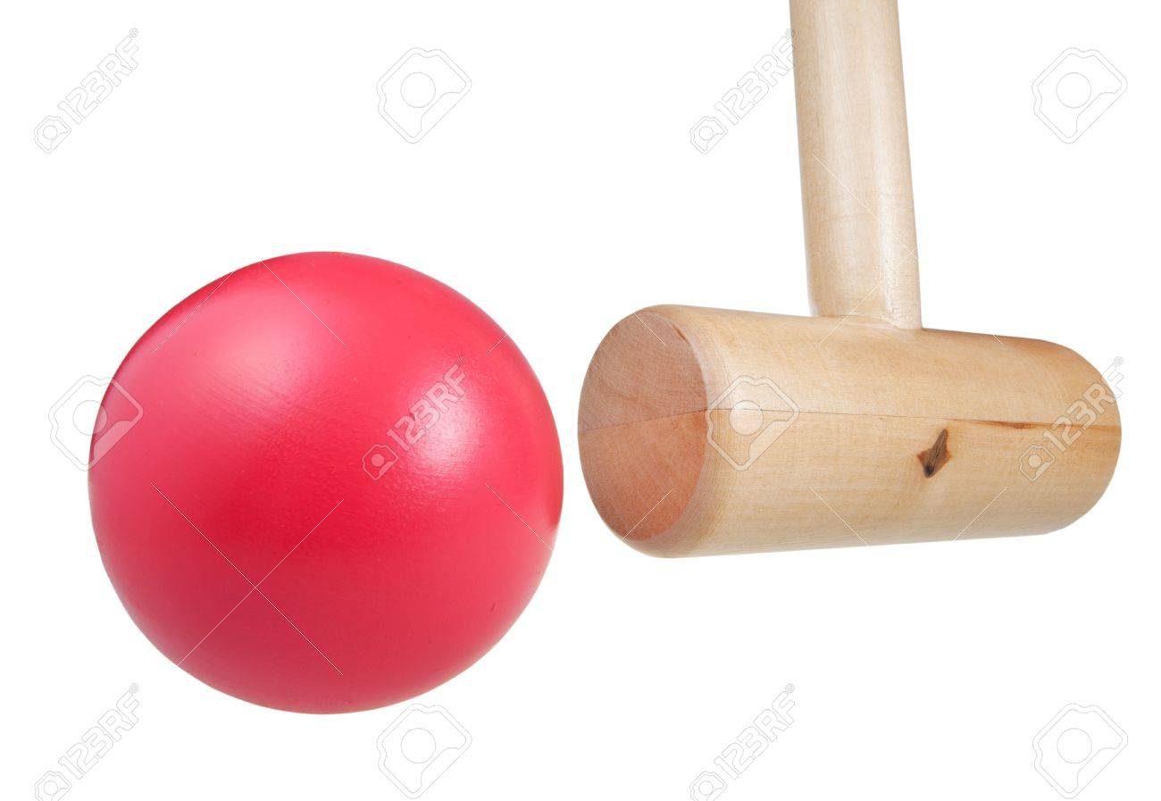 Croquet Mallet Hits Ball Close Up Isolated On White Background 1300x897